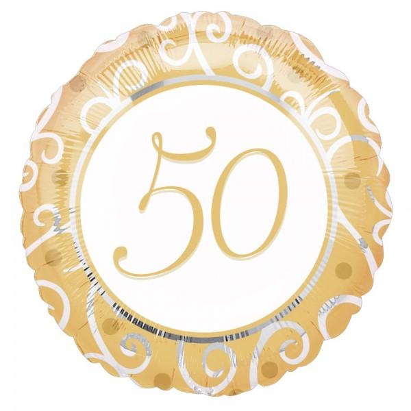 Folienballon Zahl 50 Jubiläum gold-weiß, Ø 45 cm